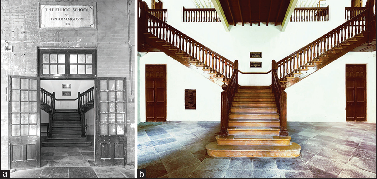 Figure 2: (a) Gateway to a treasure house of priceless artifacts: This gorgeous photograph of the doorway leading to the century old Elliot's museum, beautifully frames the graceful wooden staircase beyond. (b) The wooden staircase leading up to the treasure trove of artifacts